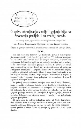 O uplivu obradjivanja zemlje i gojenja bilja na fizionomiju predjela i na značaj naroda : RAD