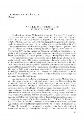 Andre Mohorovičić : curriculum vitae : Radovi Zavoda za znanstveni rad Varaždin