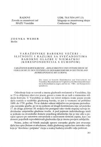 Varaždinske barokne večeri - sličnosti i razlike sa svečanostima barokne glazbe u Njemačkoj (korespondencija s Europom) : Radovi Zavoda za znanstveni rad Varaždin