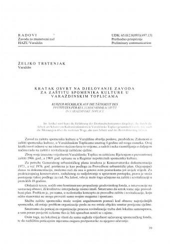 Kratak osvrt na djelovanje Zavoda za zaštitu spomenika kulture u Varaždinskim Toplicama : Radovi Zavoda za znanstveni rad Varaždin