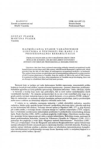 Razmišljanja starih varaždinskih liječnika o štetnosti pri radu i o profesionalnoj rehabilitaciji : Radovi Zavoda za znanstveni rad Varaždin