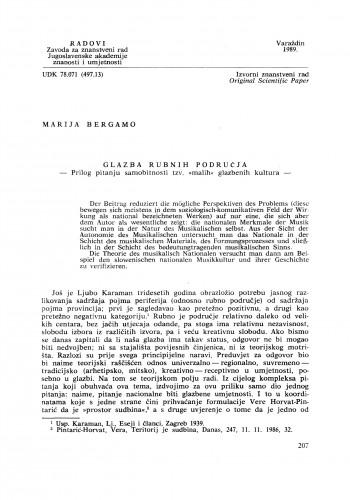 """Glazba rubnih područja : prilog pitanju samobitnosti tzv. """"malih"""" glazbenih kultura : Radovi Zavoda za znanstveni rad Varaždin"""