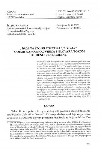 30 dana što su potresli Bjelovar - Odbor Narodnog vijeća Bjelovara tokom studenog 1918. godine : Radovi Zavoda za znanstveni rad Varaždin