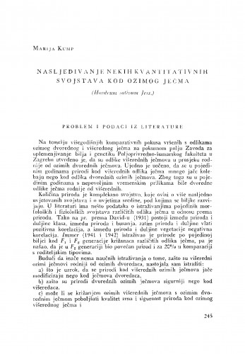 Nasljeđivanje nekih kvantitativnih svojstava kod ozimog ječma (Hordeum sativum Jess.)