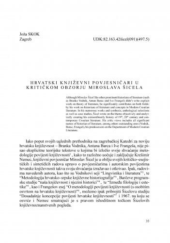 Hrvatski književni povjesničari u kritičkom obzorju Miroslava Šicela : Radovi Zavoda za znanstveni rad Varaždin