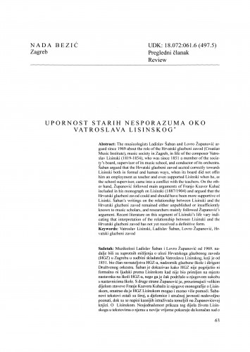 Upornost starih nesporazuma oko Vatroslava Lisinskog