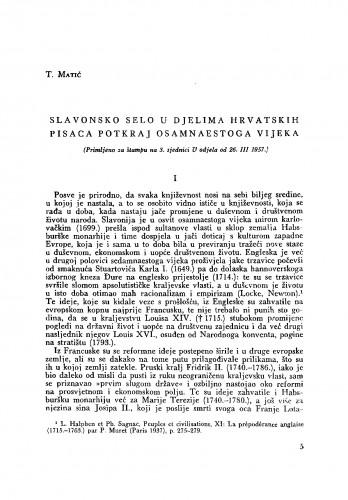 Slavonsko selo u djelima hrvatskih pisaca potkraj osamnaestoga vijeka