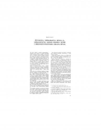 Povijesna topografija Senja (I)
