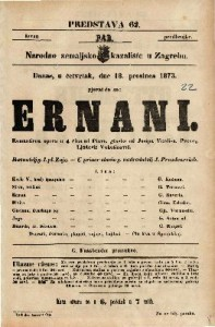 Ernani Romantična opera u 4 čina / od PIave, glasba od Josipa Verdi-a. Preveo Ljudevit Vukotinović