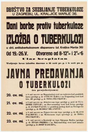 Izložba o tuberkulozi. Javna predavanja o tuberkulozi