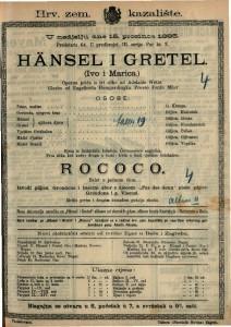 HÄNSEL I GRETEL /Ivo i Marica/ Operna priča u tri slike / Glazba od Engelberta Humperdincka