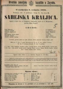 Sabejska kraljica Opera u tri čina / od Dragutina Goldmarka