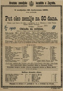 Put oko zemlje za 80 dana gluma u pet činova (14 slika) s predigrom / od A. d' Ennery-a i Jules Vernea