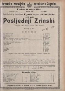 Posljednji Zrinski tragedija u pet činova / napisao Higin Dragošić