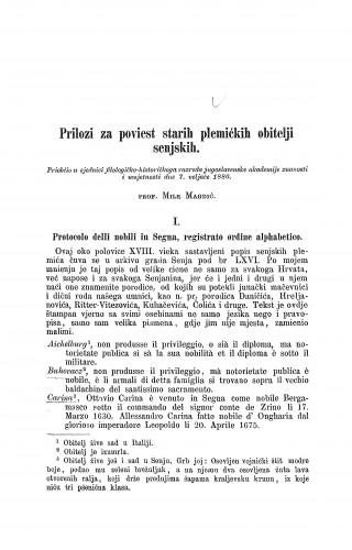 Prilozi za poviest starih plemićkih obitlelji senjskih / Mile Magdić