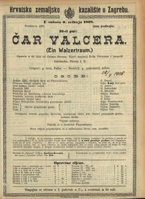 Čar valcera Opereta u 3 čina / od Oskara Strausa  =  (Ein Walzertraum)