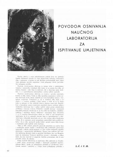 Povodom osnivanja naučnog laboratorija za ispitivanje umjetnine : Bulletin Instituta za likovne umjetnosti Jugoslavenske akademije znanosti i umjetnosti