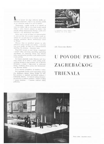 U povodu prvog zagrebačkog Triennale : Bulletin Instituta za likovne umjetnosti Jugoslavenske akademije znanosti i umjetnosti