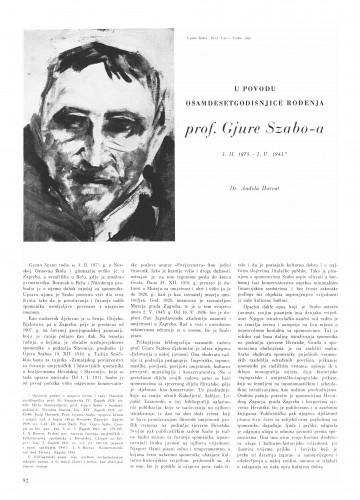 U povodu osamdesetogodišnjice rođenja prof. Đure Szabo-a : Bulletin Instituta za likovne umjetnosti Jugoslavenske akademije znanosti i umjetnosti