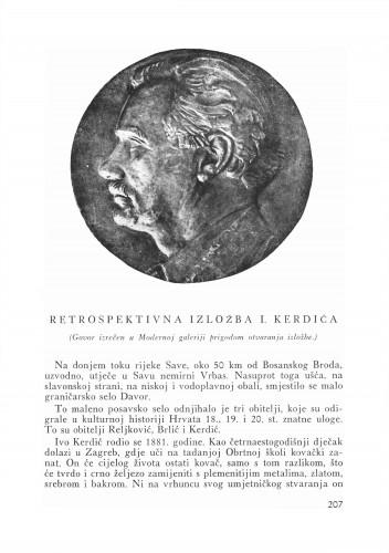 Retrospektivna izložba I. Kerdića : Bulletin Instituta za likovne umjetnosti Jugoslavenske akademije znanosti i umjetnosti