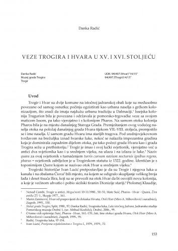Veze Trogira i Hvara u XV. i XVI. stoljeću