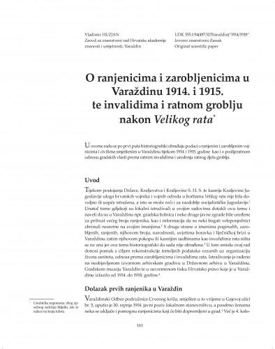 O ranjenicima i zarobljenicima u Varaždinu 1914. i 1915. te invalidima i ratnom groblju nakon Velikog rata : Posebna izdanja / Hrvatska akademija znanosti i umjetnosti, Zavod za znanstveni rad u Varaždinu