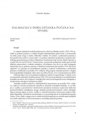 Dalmacija u doba ustanka pučana na Hvaru