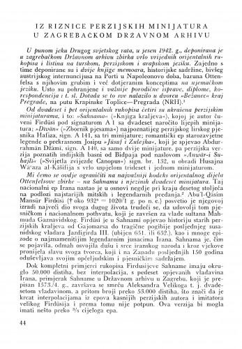 Iz riznice perzijskih minijatura u Zagrebačkom državnom arhivu : Bulletin Instituta za likovne umjetnosti Jugoslavenske akademije znanosti i umjetnosti