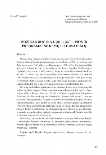 Božidar Rogina (1901.-1967.) - pionir prehrambene kemije u Hrvatskoj : Radovi Zavoda za znanstvenoistraživački i umjetnički rad u Bjelovaru