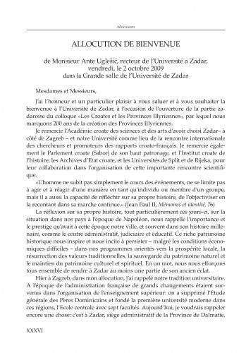 Pozdravni govor prof. dr. sc. Ante Uglešića, rektora Sveučilišta u Zadru održan 2. listopada 2009. u velikoj dvorani Zadarskog sveučilišta u nastavku međunarodnog znanstvenog skupa