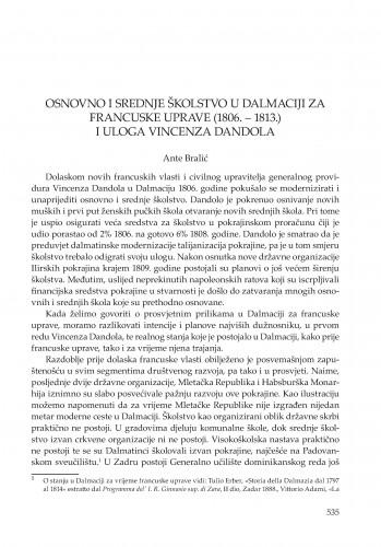 Osnovno i srednje školstvo u Dalmaciji za francuske uprave (1806. -1813.) i uloga Vincenza Dandola