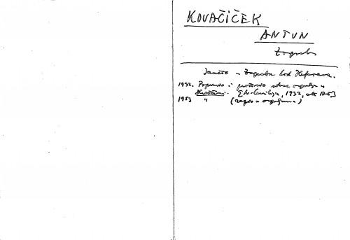 Kovačiček Antun Zagreb