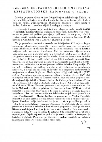 Izložba restauratorskih umjetnina restauratorske radionice u Zagrebu : Bulletin Zavoda za likovne umjetnosti Jugoslavenske akademije znanosti i umjetnosti