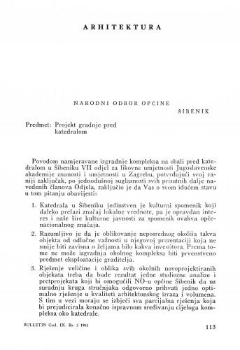 Pismo Narodnom odboru Općine Šibenik : Bulletin Zavoda za likovne umjetnosti Jugoslavenske akademije znanosti i umjetnosti