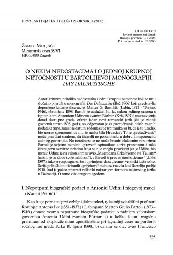 O nekim nedostacima i o jednoj krupnoj netočnosti u Bartolijevoj monografiji Das Dalmatische : Hrvatski dijalektološki zbornik