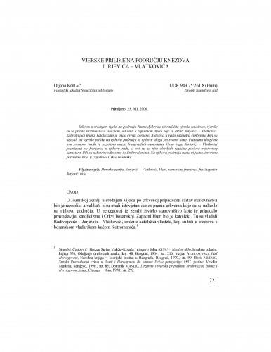 Vjerske prilike na području knezova Jurjevića - Vlatkovića : Radovi Zavoda za povijesne znanosti HAZU u Zadru