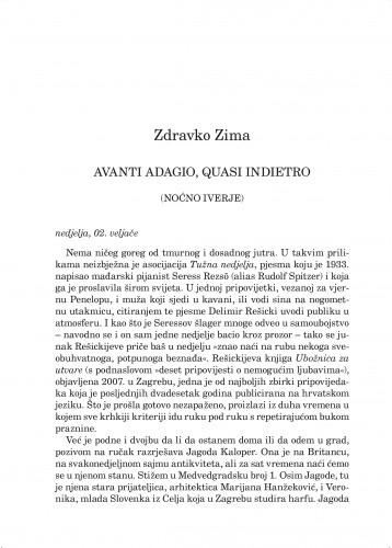 Avanti adagio, quasi indietro : (noćno iverje) : Forum : mjesečnik Razreda za književnost Hrvatske akademije znanosti i umjetnosti.