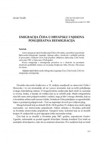 Emigracija Čeha u Hrvatsku i njihova poslijeratna reemigracija : Radovi Zavoda za znanstvenoistraživački i umjetnički rad u Bjelovaru