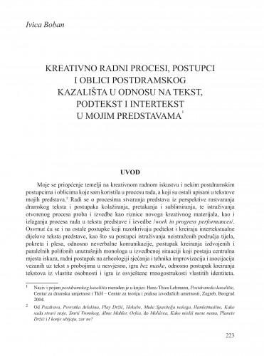 Kreativno radni procesi, postupci i oblici postdramskog kazališta u odnosu na tekst, podtekst i intertekst u mojim predstavama : Krležini dani u Osijeku