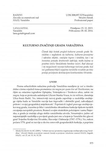 Kulturno značenje grada Varaždina : Radovi Zavoda za znanstveni rad Varaždin