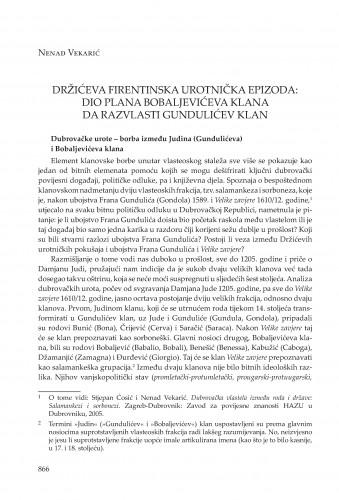 Držićeva firentinska urotnička epizoda: dio plana Bobaljevićeva klana da razvlasti Gundulićev klan