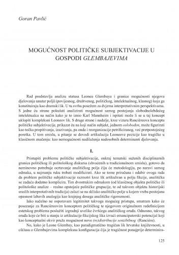 Mogućnost političke subjektivacije u Gospodi Glembajevima : Krležini dani u Osijeku