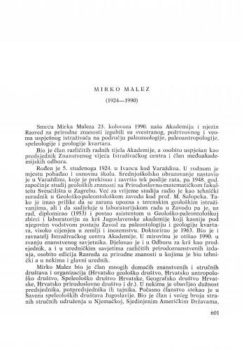 Mirko Malez (1924-1990) : [nekrolozi] / Milan Herak