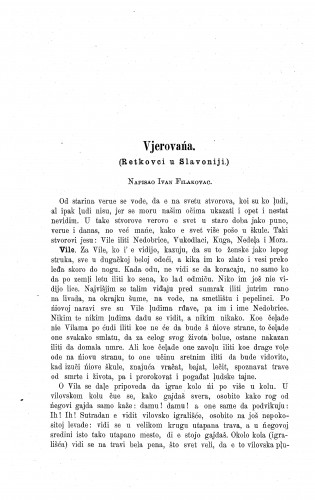 Vjerovańa : (Retkovci u Slavoniji.) / I. Filakovac