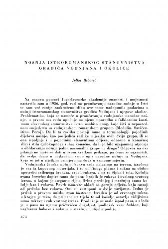 Nošnja istroromanskog stanovništva gradića Vodnjana i okolice / J. Ribarić