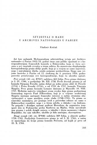 Izvještaj o radu u Archives nationales u Parizu / V. Košćak