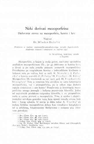 Neki derivati mezoporfirina