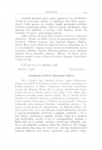 Istraživanje oscilacije Bakarskkoga Zaljeva / J. Goldberger i K. Kempni