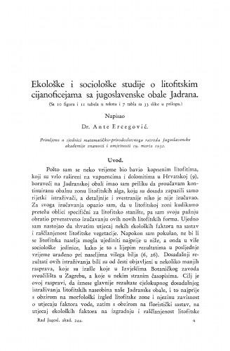 Ekološke i sociološke studije o litofitskim cijanoficejama sa jugoslavenske obale Jadrana