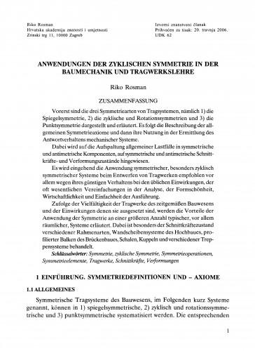 Anwendungen der zyklischen Symmetrie in der Baumechanik und Tragwerkslehre
